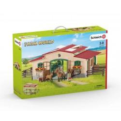 Schleich® 42195 Caballeriza con caballos y accesorios