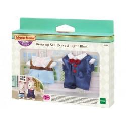 SF 6019 Set Vestido (Azul Marino y Azul Claro)