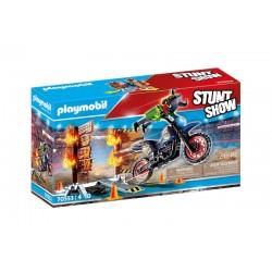 Playmobil® 70553 Stuntshow Moto con muro de fuego
