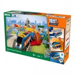 BRIO® 33972 Set Ferroviario con túneles de acción Smart Tech Sound